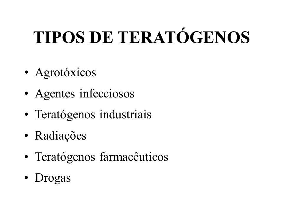 TIPOS DE TERATÓGENOS Agrotóxicos Agentes infecciosos Teratógenos industriais Radiações Teratógenos farmacêuticos Drogas