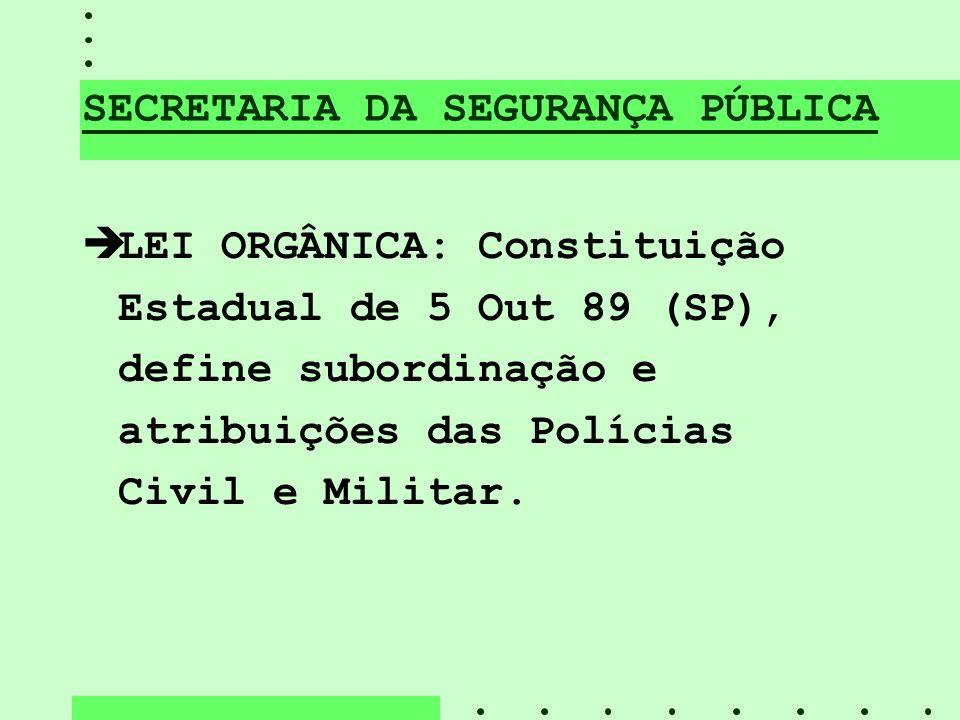 SECRETARIA DA SEGURANÇA PÚBLICA èLEI ORGÂNICA: Constituição Estadual de 5 Out 89 (SP), define subordinação e atribuições das Polícias Civil e Militar.