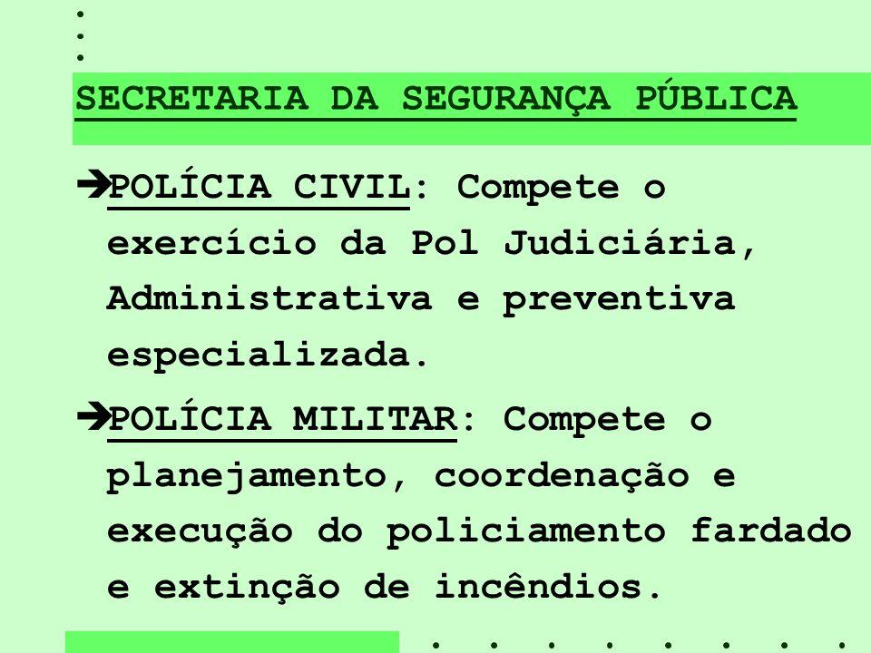 SECRETARIA DA SEGURANÇA PÚBLICA èPOLÍCIA CIVIL: Compete o exercício da Pol Judiciária, Administrativa e preventiva especializada. èPOLÍCIA MILITAR: Co