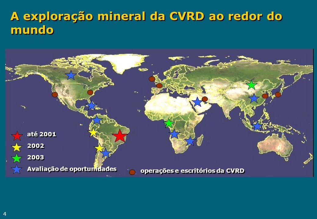 4 A exploração mineral da CVRD ao redor do mundo até 2001 2002 2003 Avaliação de oportunidades até 2001 2002 2003 Avaliação de oportunidades operações