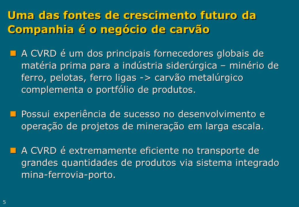 5 nA CVRD é um dos principais fornecedores globais de matéria prima para a indústria siderúrgica – minério de ferro, pelotas, ferro ligas -> carvão me