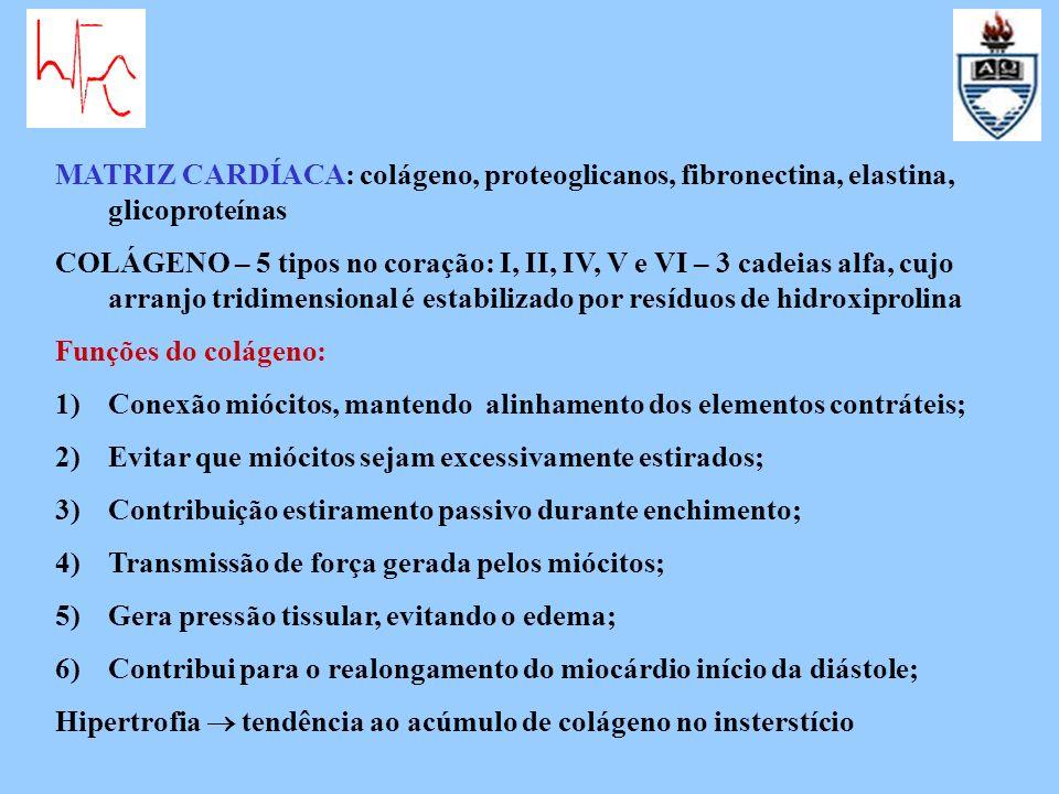 Deposição de colágeno ANGIOTENSINA II, ALDOSTERONA -aumenta distância capilar-miócito, piora a hipóxia; -dificulta transmissão mecânica; -eleva rigidez câmara, insuficiência diastólica