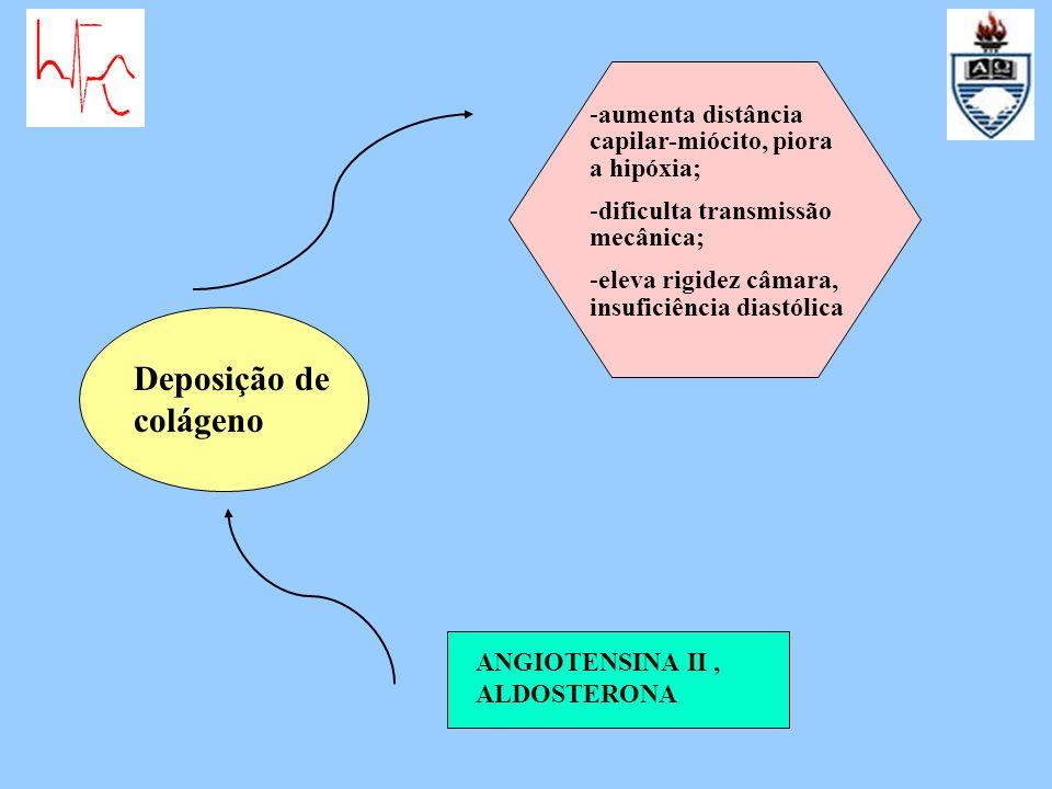Deposição de colágeno ANGIOTENSINA II, ALDOSTERONA -aumenta distância capilar-miócito, piora a hipóxia; -dificulta transmissão mecânica; -eleva rigide