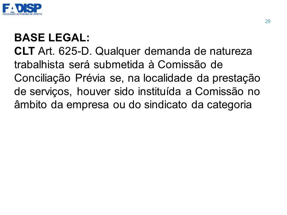 BASE LEGAL: CLT Art. 625-D. Qualquer demanda de natureza trabalhista será submetida à Comissão de Conciliação Prévia se, na localidade da prestação de