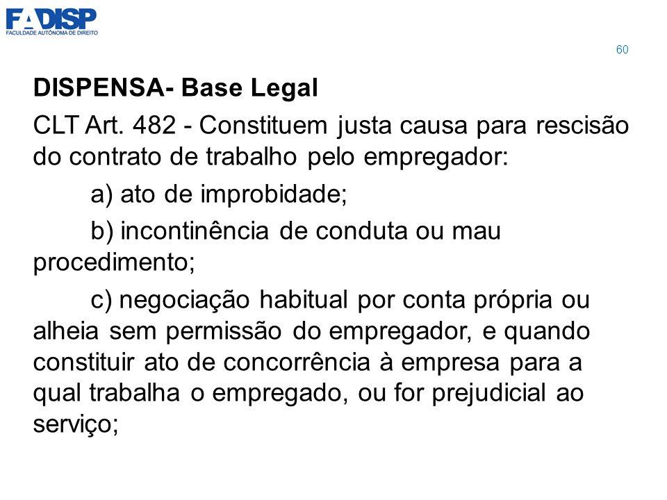 DISPENSA- Base Legal CLT Art. 482 - Constituem justa causa para rescisão do contrato de trabalho pelo empregador: a) ato de improbidade; b) incontinên
