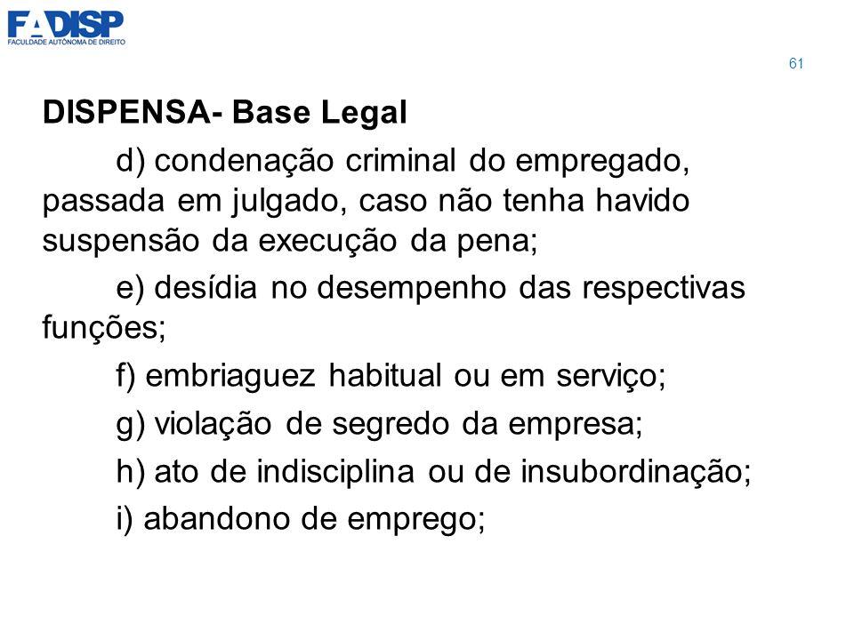 DISPENSA- Base Legal d) condenação criminal do empregado, passada em julgado, caso não tenha havido suspensão da execução da pena; e) desídia no desem