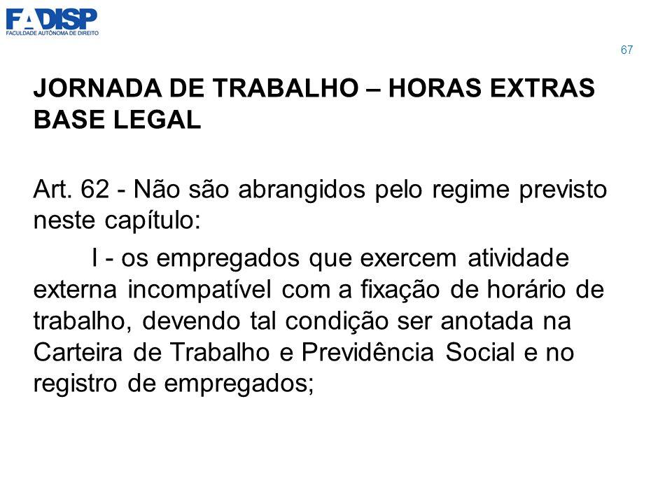 JORNADA DE TRABALHO – HORAS EXTRAS BASE LEGAL Art. 62 - Não são abrangidos pelo regime previsto neste capítulo: I - os empregados que exercem atividad