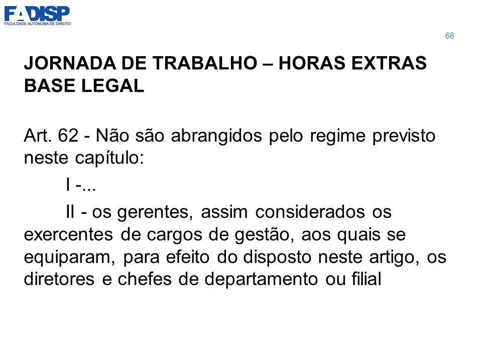 JORNADA DE TRABALHO – HORAS EXTRAS BASE LEGAL Art. 62 - Não são abrangidos pelo regime previsto neste capítulo: I -... II - os gerentes, assim conside