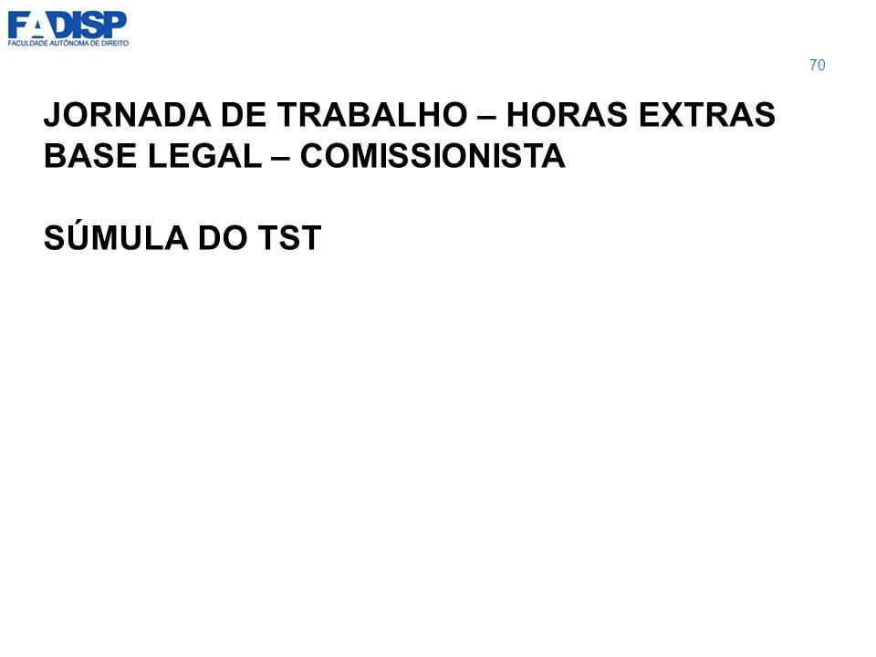 JORNADA DE TRABALHO – HORAS EXTRAS BASE LEGAL – COMISSIONISTA SÚMULA DO TST 70