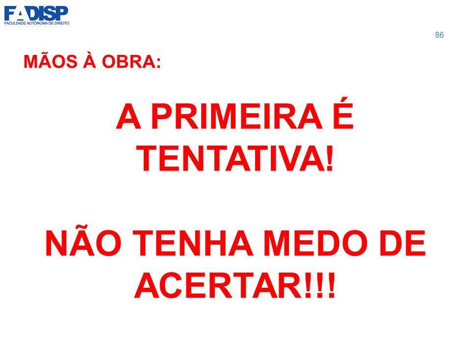 MÃOS À OBRA: A PRIMEIRA É TENTATIVA! NÃO TENHA MEDO DE ACERTAR!!! 86