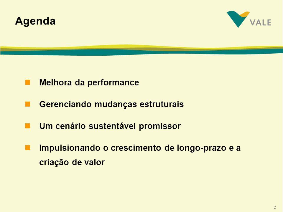 2 Agenda nMelhora da performance nGerenciando mudanças estruturais nUm cenário sustentável promissor nImpulsionando o crescimento de longo-prazo e a criação de valor