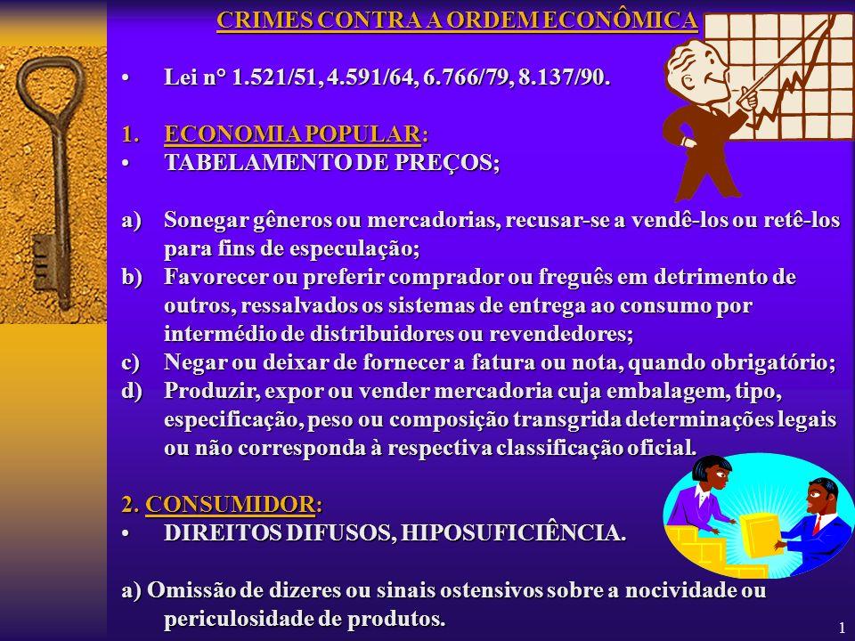 1 CRIMES CONTRA A ORDEM ECONÔMICA LeiLei n° 1.521/51, 4.591/64, 6.766/79, 8.137/90. 1.ECONOMIA 1.ECONOMIA POPULAR: TABELAMENTOTABELAMENTO DE PREÇOS; a