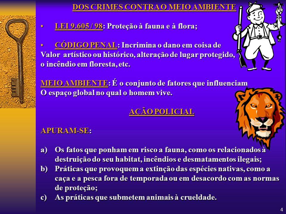5 INVESTIGAÇÃO VISA COIBIR: COMÉRCIOCOMÉRCIO DE ESPÉCIMES DA FAUNA SILVESTRE e DE PRODUTOS E OBJETOS QUE IMPLIQUEM A SUA CAÇA, DESTRUIÇÃO OU APANHA; ATIVIDADESATIVIDADES DE EMPRESAS QUE NEGOCIAM ANIMAIS SILVESTRES e SEUS PRODUTOS DEVEM TER DECLARAÇÃO ATUALIZADAS DOS ESTOQUES; AEXPORTAÇÃO DE PELES E COUROS DE ANFÍBIOS E RÉPTEIS EM ESTADO BRUTO; AINTRODUÇÃO EM TERRITÓRIO NACIONAL DE ESPÉCIMES SEM LICENÇA DE ÓRGÃO OFICIAL; OUSO DIRETO OU INDIRETO DE AGROTÓXICOS OU QUALQUER OUTRA SUBSTÂNCIA QUÍMICA QUE PROVOQUE A MORTANDADE DE PEIXES.