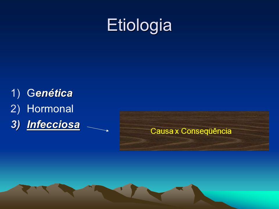 Etiologia enética 1)Genética 2)Hormonal 3)Infecciosa Causa x Conseqüência