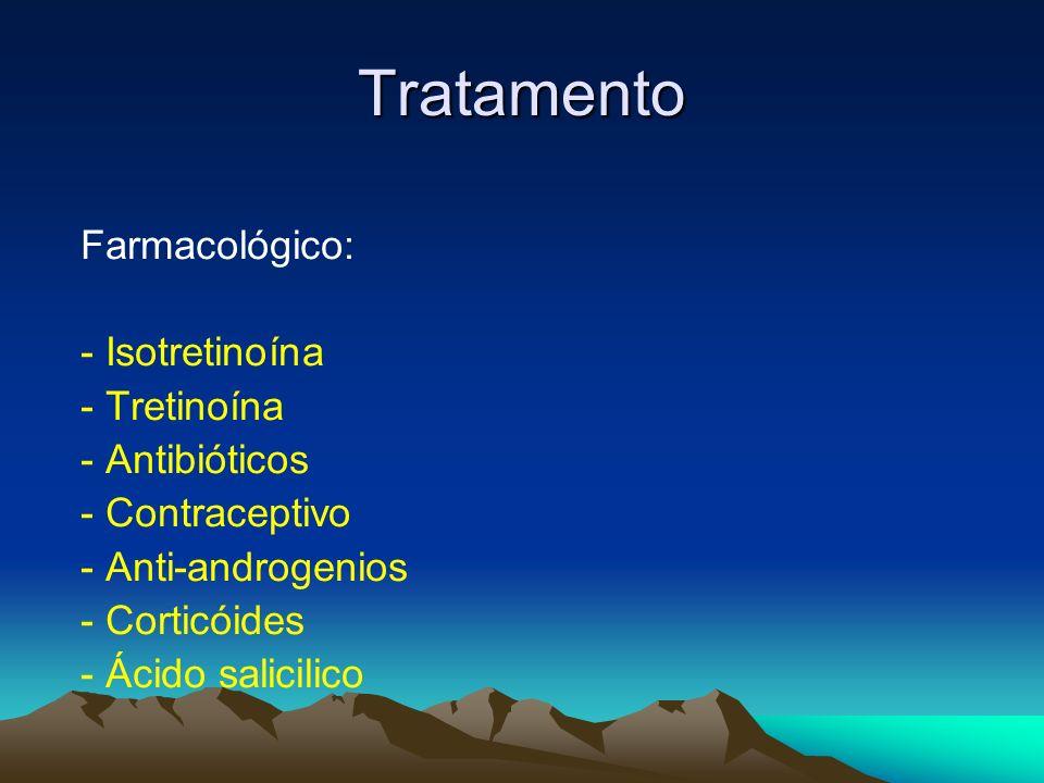 Tratamento Farmacológico: - Isotretinoína - Tretinoína - Antibióticos - Contraceptivo - Anti-androgenios - Corticóides - Ácido salicilico