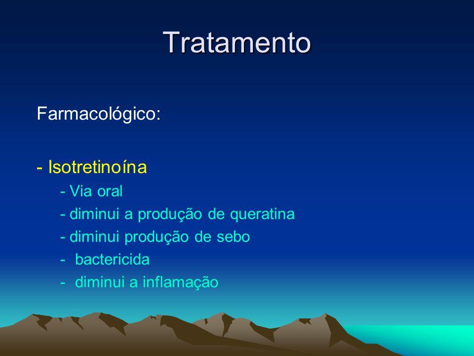 Tratamento Farmacológico: - Isotretinoína - Via oral - diminui a produção de queratina - diminui produção de sebo -bactericida -diminui a inflamação