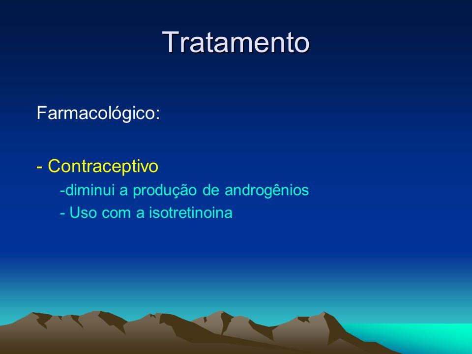 Tratamento Farmacológico: - Contraceptivo -diminui a produção de androgênios - Uso com a isotretinoina