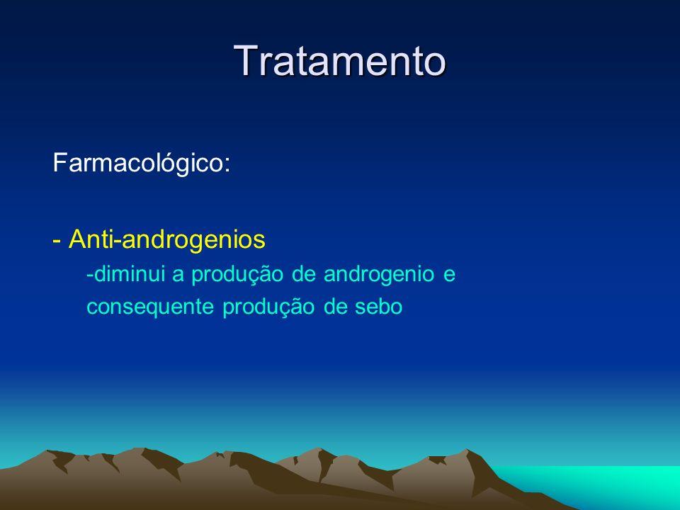 Tratamento Farmacológico: - Anti-androgenios -diminui a produção de androgenio e consequente produção de sebo