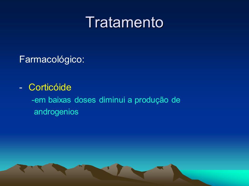 Tratamento Farmacológico: -Corticóide -em baixas doses diminui a produção de androgenios