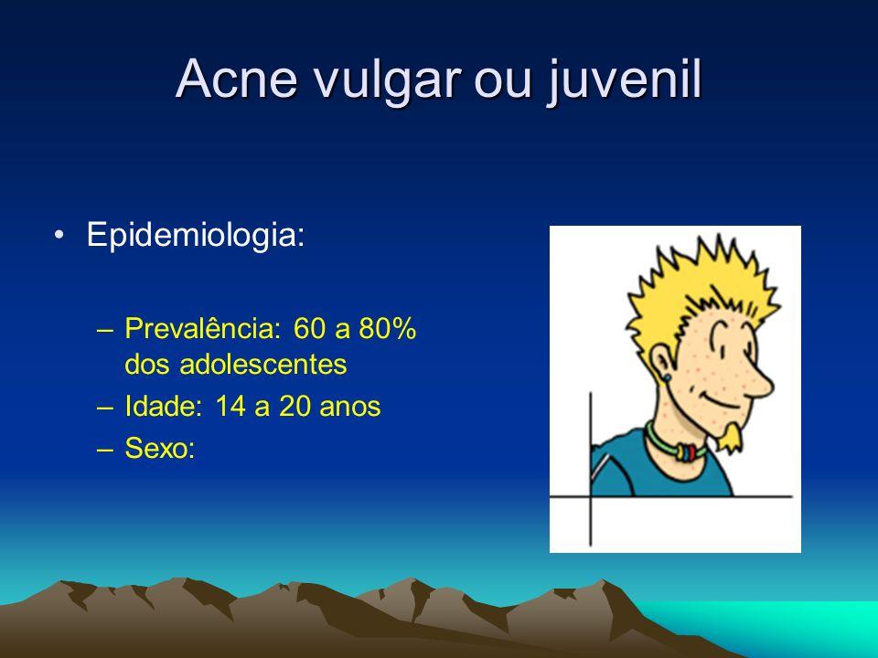Acne vulgar ou juvenil Epidemiologia: –Prevalência: 60 a 80% dos adolescentes –Idade: 14 a 20 anos –Sexo: