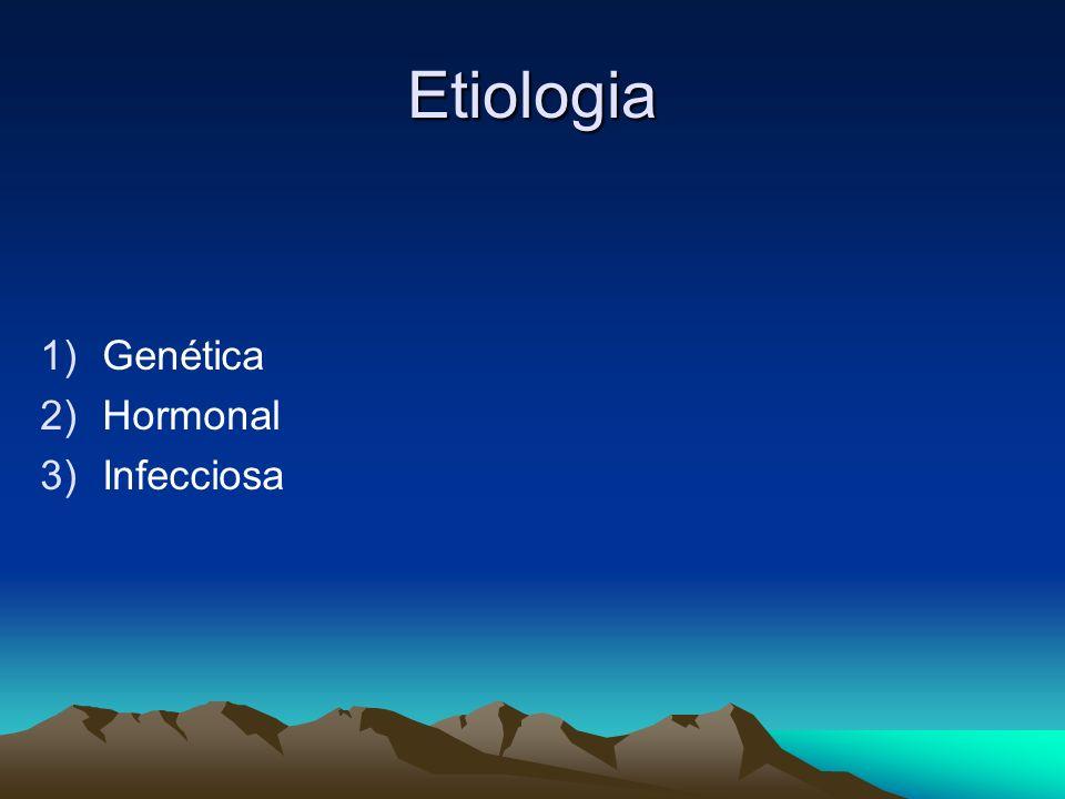 Etiologia 1)Genética 2)Hormonal 3)Infecciosa