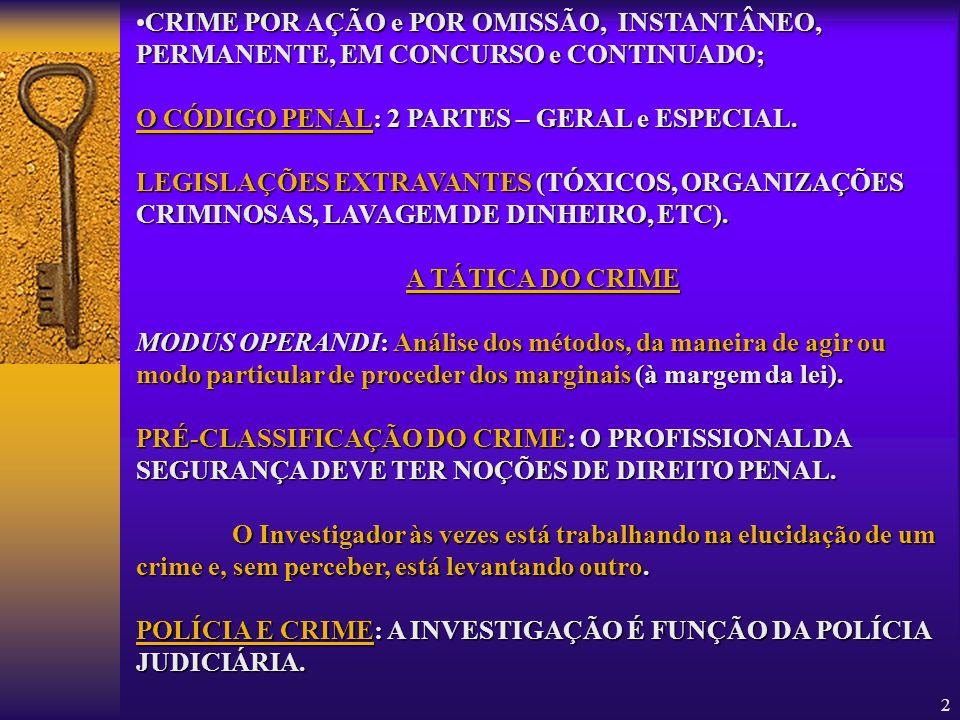 3 PLANO DE TRABALHO: a)O a)O crime é noticiado; b)A b)A Polícia entra em ação; c)As c)As primeiras indagações são feitas no local do crime (contato com vítimas, testemunhas, vizinhos, etc); d)Estabelecem-se d)Estabelecem-se ligações entre vítimas, suspeitos, testemunhas, etc.; e)Analisam-se e)Analisam-se os exames periciais; f)Checam-se f)Checam-se os suspeitos apontados; g)Se g)Se o trabalho for bem sucedido, obter-se-ão provas e pode-se imputar o fato a determinado(s) autor(es), finalizando-se as investigações.