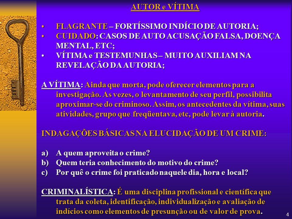 4 AUTOR e VÍTIMA FLAGRANTEFLAGRANTE – FORTÍSSIMO INDÍCIO DE AUTORIA; CUIDADO:CUIDADO: CASOS DE AUTO ACUSAÇÃO FALSA, DOENÇA MENTAL, ETC; VÍTIMAVÍTIMA e