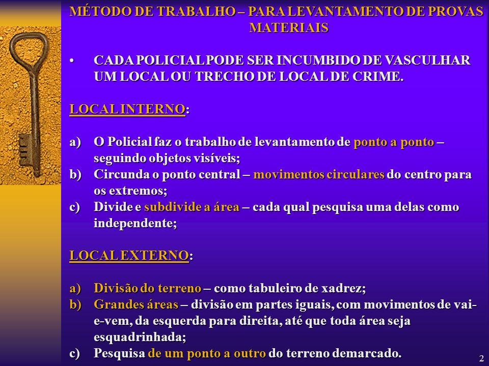 2 MÉTODO DE TRABALHO – PARA LEVANTAMENTO DE PROVAS MATERIAIS CADACADA POLICIAL PODE SER INCUMBIDO DE VASCULHAR UM LOCAL OU TRECHO DE LOCAL DE CRIME. L
