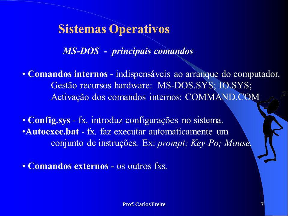 Prof. Carlos Freire7 Sistemas Operativos MS-DOS - principais comandos Comandos internos - indispensáveis ao arranque do computador. Gestão recursos ha