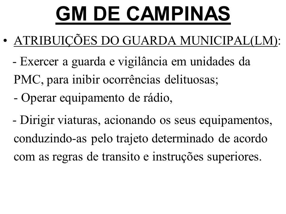 GM DE CAMPINAS ATRIBUIÇÕES DO GUARDA MUNICIPAL(LM): - Exercer a guarda e vigilância em unidades da PMC, para inibir ocorrências delituosas; - Operar e
