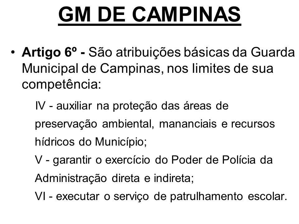 GM DE CAMPINAS Artigo 6º - São atribuições básicas da Guarda Municipal de Campinas, nos limites de sua competência: IV - auxiliar na proteção das área