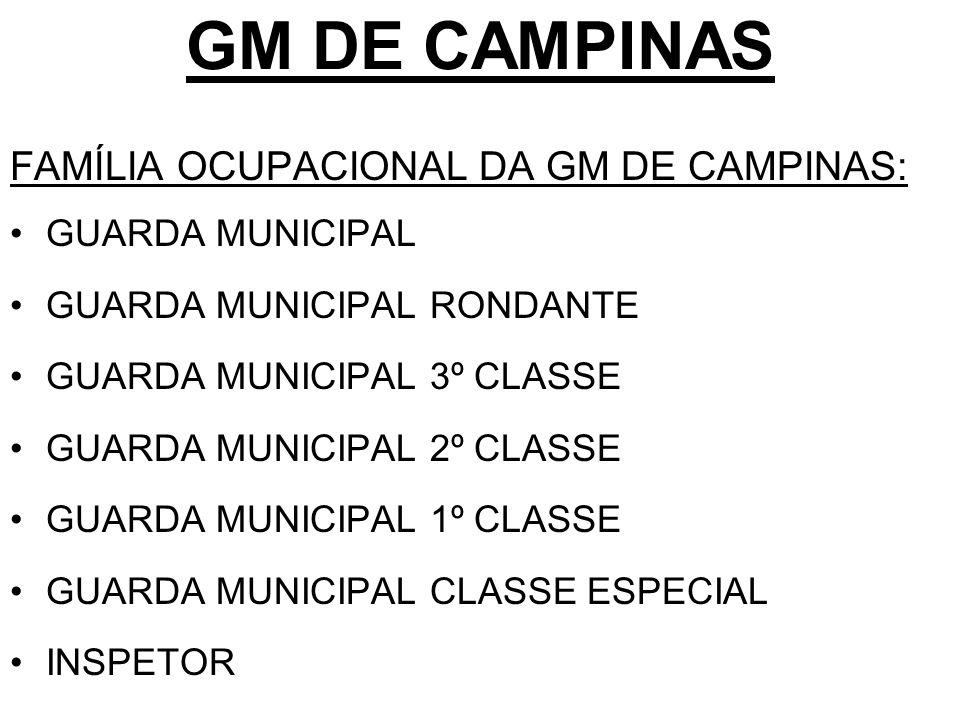 GM DE CAMPINAS FAMÍLIA OCUPACIONAL DA GM DE CAMPINAS: GUARDA MUNICIPAL GUARDA MUNICIPAL RONDANTE GUARDA MUNICIPAL 3º CLASSE GUARDA MUNICIPAL 2º CLASSE