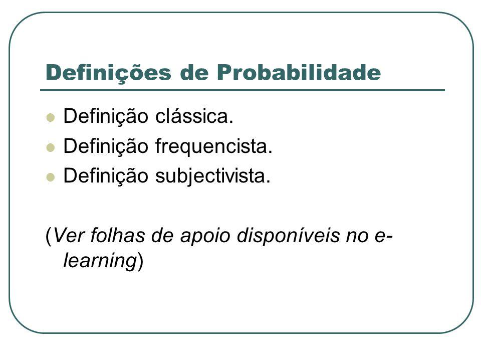 Definições de Probabilidade Definição clássica. Definição frequencista. Definição subjectivista. (Ver folhas de apoio disponíveis no e- learning)