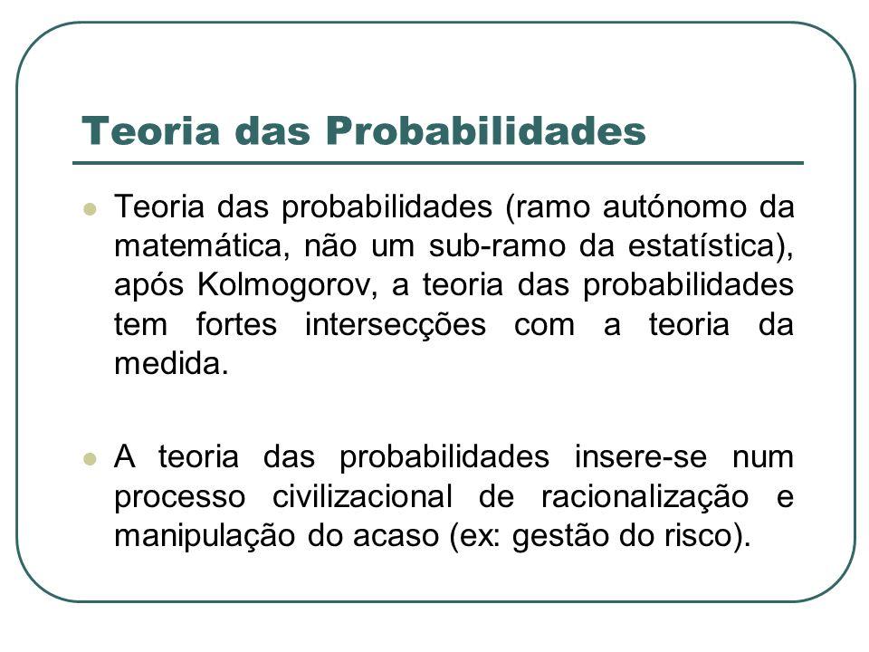 Teoria das Probabilidades Teoria das probabilidades (ramo autónomo da matemática, não um sub-ramo da estatística), após Kolmogorov, a teoria das proba