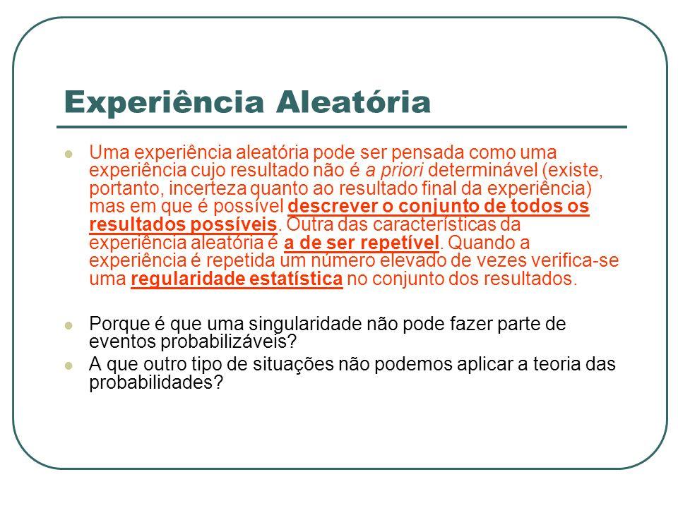 Experiência Aleatória Uma experiência aleatória pode ser pensada como uma experiência cujo resultado não é a priori determinável (existe, portanto, in