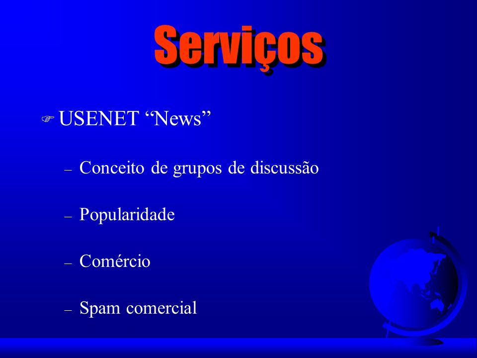 Serviços F USENET News – Conceito de grupos de discussão – Popularidade – Comércio – Spam comercial