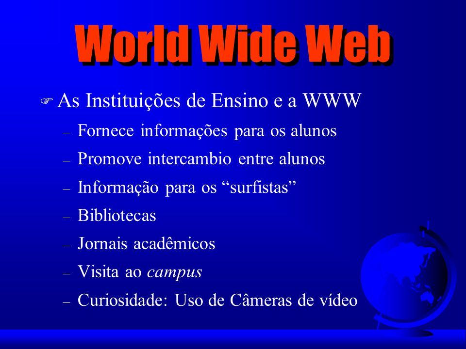World Wide Web F As Instituições de Ensino e a WWW – Fornece informações para os alunos – Promove intercambio entre alunos – Informação para os surfis