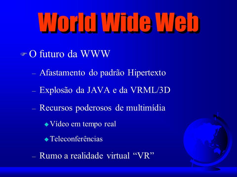 World Wide Web F O futuro da WWW – Afastamento do padrão Hipertexto – Explosão da JAVA e da VRML/3D – Recursos poderosos de multimídia u Vídeo em temp