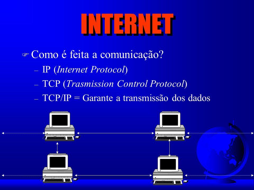 F Teia mundial = Links = Uso do Browser F É o lado mais agradável da INTERNET F Multimídia (Texto, fotos/figuras e som) F Tipicamente comercial F Foco de interesse do público – Informação – Compras – Fazer amigos (Chat lines)
