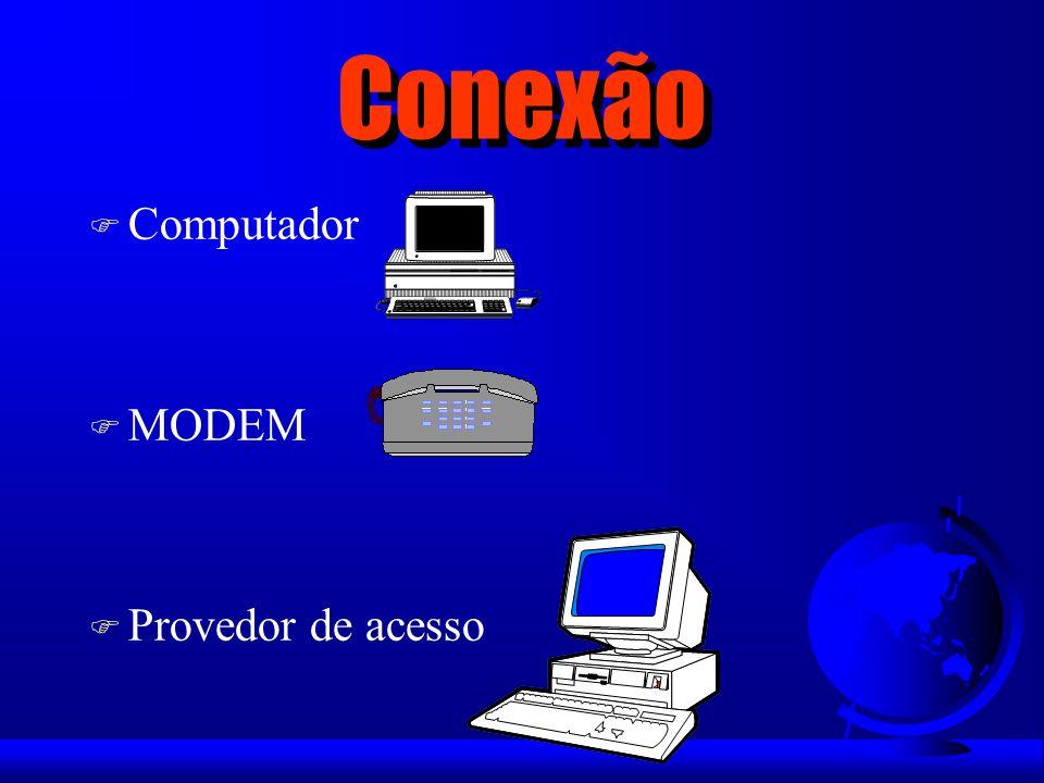Conexão F Provedor de Acesso – Provedor de Acesso = Host – Possibilita a conexão do usuário à Internet – Fornece um endereço de e-mail ao assinante – Oferece outros serviços u Home Page pessoais u Home Page corporativas