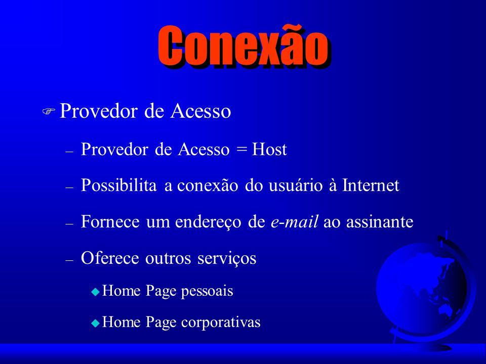 Conexão F Provedor de Acesso – Provedor de Acesso = Host – Possibilita a conexão do usuário à Internet – Fornece um endereço de e-mail ao assinante –