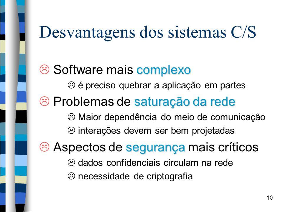 10 Desvantagens dos sistemas C/S complexo Software mais complexo é preciso quebrar a aplicação em partes saturação da rede Problemas de saturação da rede Maior dependência do meio de comunicação interações devem ser bem projetadas segurança Aspectos de segurança mais críticos dados confidenciais circulam na rede necessidade de criptografia
