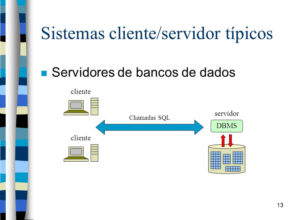 13 Sistemas cliente/servidor típicos Servidores de bancos de dados cliente Chamadas SQL servidor DBMS