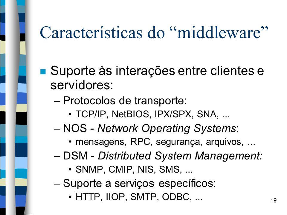19 Características do middleware Suporte às interações entre clientes e servidores: –Protocolos de transporte: TCP/IP, NetBIOS, IPX/SPX, SNA,... –NOS