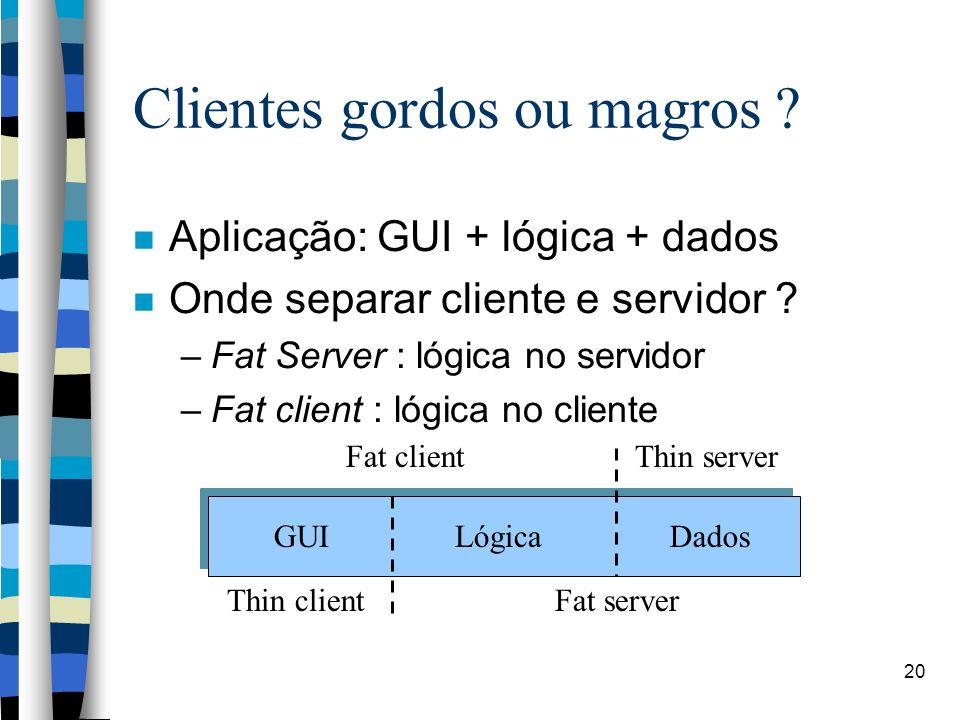 20 Clientes gordos ou magros ? Aplicação: GUI + lógica + dados Onde separar cliente e servidor ? –Fat Server : lógica no servidor –Fat client : lógica