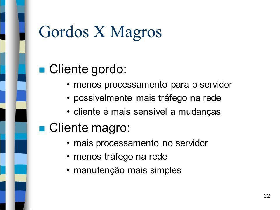 22 Gordos X Magros Cliente gordo: menos processamento para o servidor possivelmente mais tráfego na rede cliente é mais sensível a mudanças Cliente ma