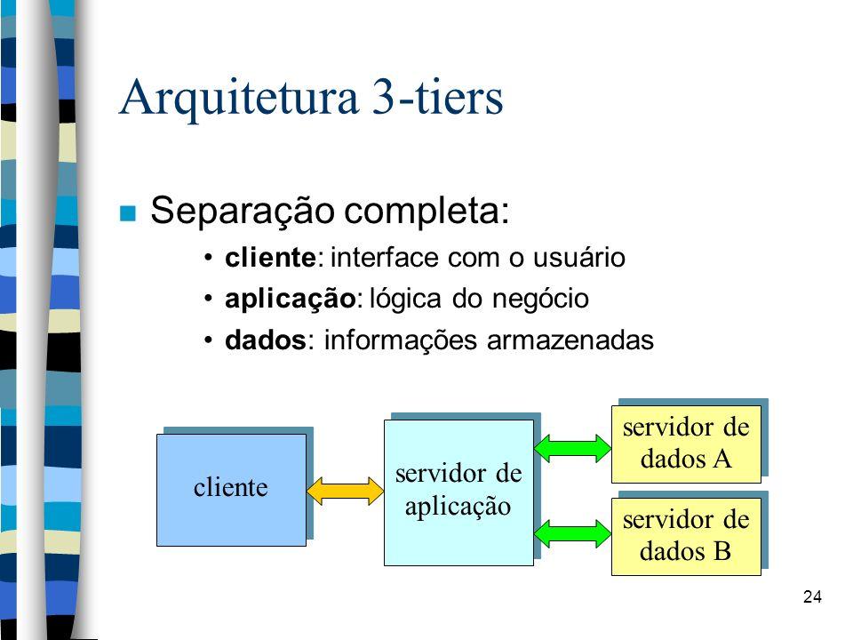 24 Arquitetura 3-tiers Separação completa: cliente: interface com o usuário aplicação: lógica do negócio dados: informações armazenadas cliente servidor de aplicação servidor de dados B servidor de dados A