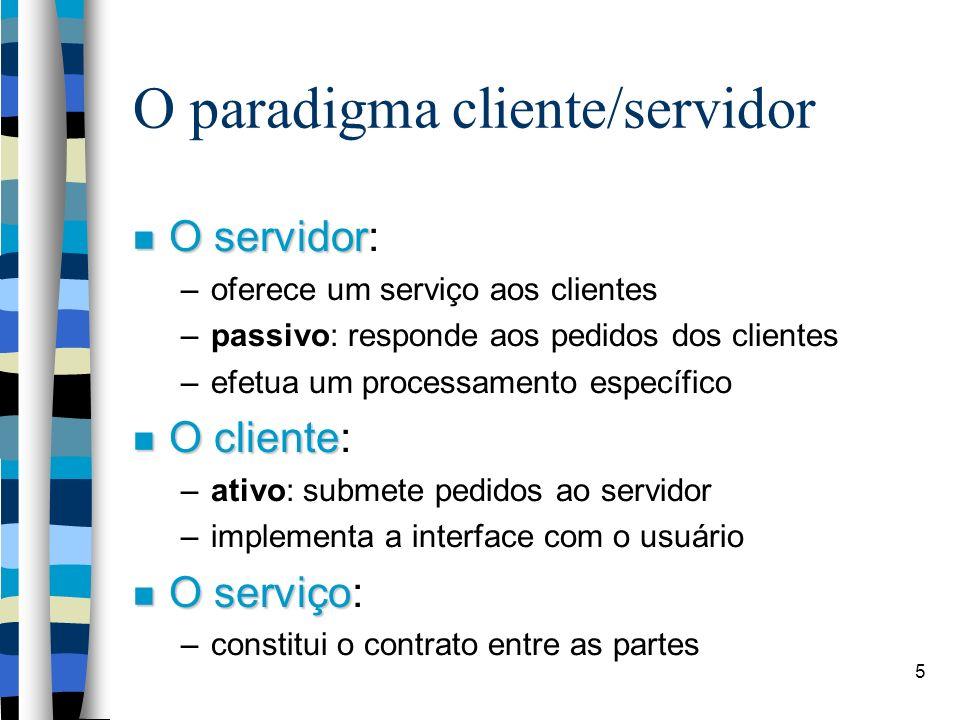 5 O paradigma cliente/servidor O servidor O servidor: –oferece um serviço aos clientes –passivo: responde aos pedidos dos clientes –efetua um processamento específico O cliente O cliente: –ativo: submete pedidos ao servidor –implementa a interface com o usuário O serviço O serviço: –constitui o contrato entre as partes