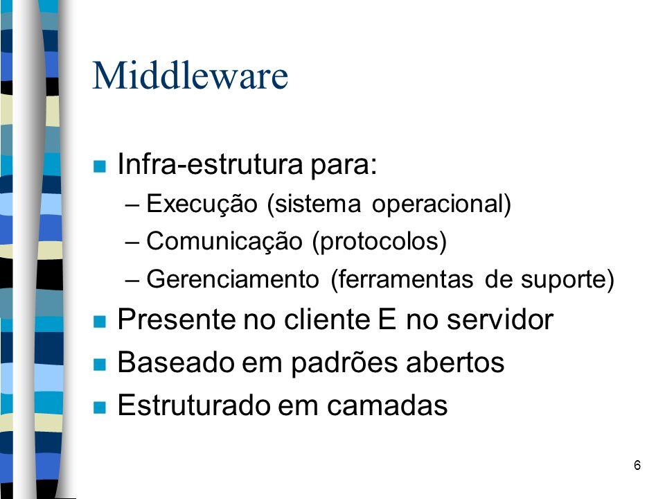 6 Middleware Infra-estrutura para: –Execução (sistema operacional) –Comunicação (protocolos) –Gerenciamento (ferramentas de suporte) Presente no clien
