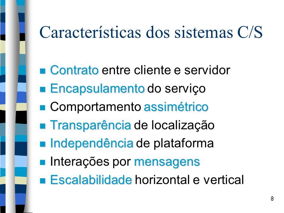8 Características dos sistemas C/S Contrato Contrato entre cliente e servidor Encapsulamento Encapsulamento do serviço assimétrico Comportamento assimétrico Transparência Transparência de localização Independência Independência de plataforma mensagens Interações por mensagens Escalabilidade Escalabilidade horizontal e vertical
